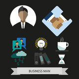 Business elements infographic with icons, idea and money, flat design. Digital vector image Stock Photo