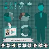 Business elements infographic with icons, persons, idea, charts and papers, flat design. Digital vector image Stock Photography