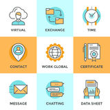 Business elements line icons set Stock Photos