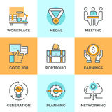 Business elements line icons set Stock Photo