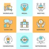 Business elements line icons set royalty free illustration