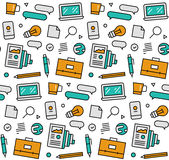 Business elements seamless icons pattern Stock Photography