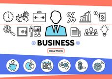 Business Elements Template. With businessman clock briefcase graph mobile safe magnifier conference bulb documents teamwork line icons isolated vector Royalty Free Stock Photos