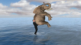 Business Elephant Man Walk Water. A businessman in a business metaphor is holding or carrying an elephant while walking on water. Success! Leadership! Confidence Royalty Free Stock Images