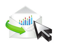 Business email with an inside graph and cursor Stock Photo