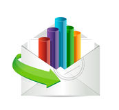 Business email with an inside graph illustration Royalty Free Stock Photography