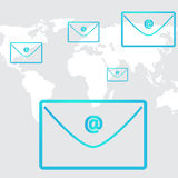 Business email social network in background world Royalty Free Stock Photography
