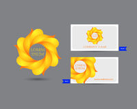 Business emblem icon of golden leaves Royalty Free Stock Photos