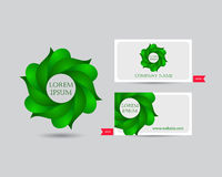 Business emblem icon of green leaves Stock Photography