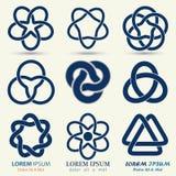 Business emblem set, blue knot symbol Stock Images