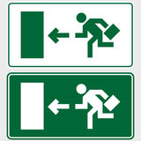 Business emergency exit sign. Emergency exit sign with business man figure holding a briefcase Royalty Free Stock Photos