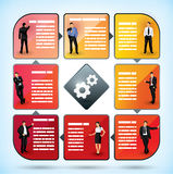 Business employee presentation chart. With square text boxes for information concerning the different categories of employee and management within the company Royalty Free Stock Images