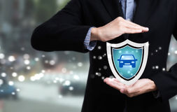 Business employees protecting customer care concept car Stock Image
