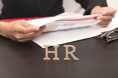 Business employer holding Job application. concept HR Stock Photos
