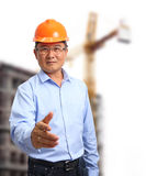 Business engineer at construction site Stock Photo