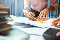 Business engineer contractor working at his desk table in office Royalty Free Stock Photo
