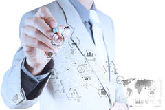 Business engineer hand works industry diagram on virtual compute. R as industry concept stock photo
