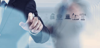 Business engineer hand works industry diagram Royalty Free Stock Photography