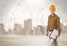Business engineer planing at construction site with city backgro Stock Images