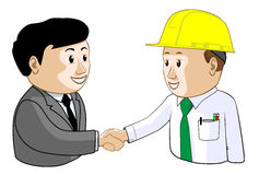 Business Engineering Agreement. A businessman and engineer agree with a handshake vector illustration