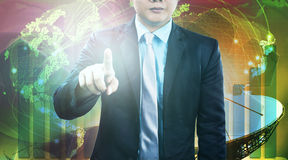Business and engineering man pointing finger to require person t Royalty Free Stock Photos