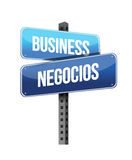 Business in english and spanish sign illustration Stock Images