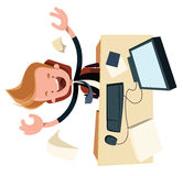 Business enthysiasm at work desk  illustration cartoon character Stock Images