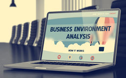 Business Environment Analysis on Laptop Screen. Closeup. 3D. Royalty Free Stock Photos