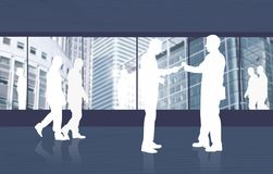 Business environment full of people's silhouettes Royalty Free Stock Photography