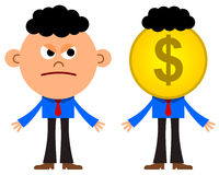Business envy. An illustration of a business man looking very envious at a business man with a dollar coin head Royalty Free Stock Photo