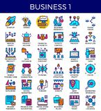 Business essential icons. Business essential line icons set in modern line icon style for ui, ux, website, web, app graphic design Stock Photo