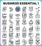 Business Essential icons. Business Essential concept detailed line icons set in modern line icon style concept for ui, ux, web, app design Royalty Free Stock Images