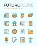 Business essentials futuro line icons. Line icons with flat design elements of business essentials object, everyday office tools, professional solution items Royalty Free Stock Photography