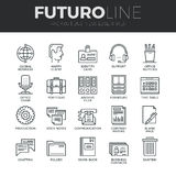 Business Essentials Futuro Line Icons Set. Modern thin line icons set of basic business essential tools, office equipment. Premium quality outline symbol Royalty Free Stock Photo