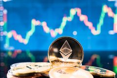 Business ethereum coin currency finance money Royalty Free Stock Image