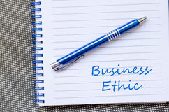 Business ethic write on notebook. Business ethic text concept write on notebook Royalty Free Stock Photos
