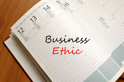 Business ethic write on notebook. Business ethic text concept write on notebook Stock Images