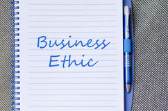 Business ethic write on notebook. Business ethic text concept write on notebook Stock Image