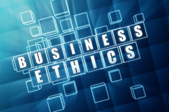 Business ethics in blue glass blocks Stock Images