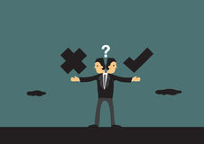 Business Ethics Conceptual Vector Illustration. Businessman in dilemma choosing between right and wrong path. Metaphor vector illustration for business ethics in Stock Photography