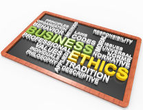 Business Ethics 3d word concept. On blackboard, white background Stock Photo