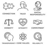 Business Ethics Icon Set Outline. Business Ethics Icon Set with social responsibility, corporate core values, reliability, transparency, etc Stock Photography