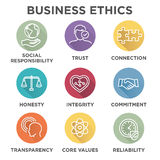 Business Ethics Icon Set. With social responsibility, corporate core values, reliability, transparency, etc Stock Photo