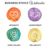 Business Ethics Icon Set Watercolor. With heart Stock Photo