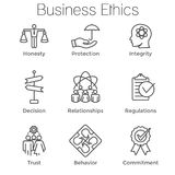 Business Ethics Outline Icon Set w Honesty, Integrity, Commitmen. Business Ethics Outline Icon Set with Honesty, Integrity, Commitment, and Decision Stock Images