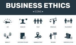 Business Ethics set icons collection. Includes simple elements such as CSR, Behavior, Trust, Principles and Morality. Premium icons stock illustration