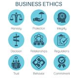 Business Ethics Solid Icon Set with Honesty, Integrity, Commitme. Nt, & Decision Royalty Free Stock Photos