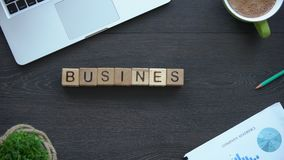 Business ethics, woman making phrase of cubes, behavior rules in company team. Stock footage stock video footage