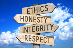 Business ethics - wooden signpost. Wooden signpost with four arrows - `ethics`, `honesty`, `integrity`, `respect`, sky in a background stock image