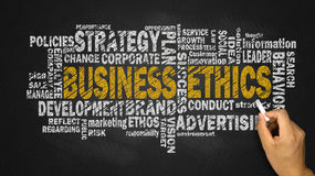 Business ethics word cloud. With related tags royalty free stock photo